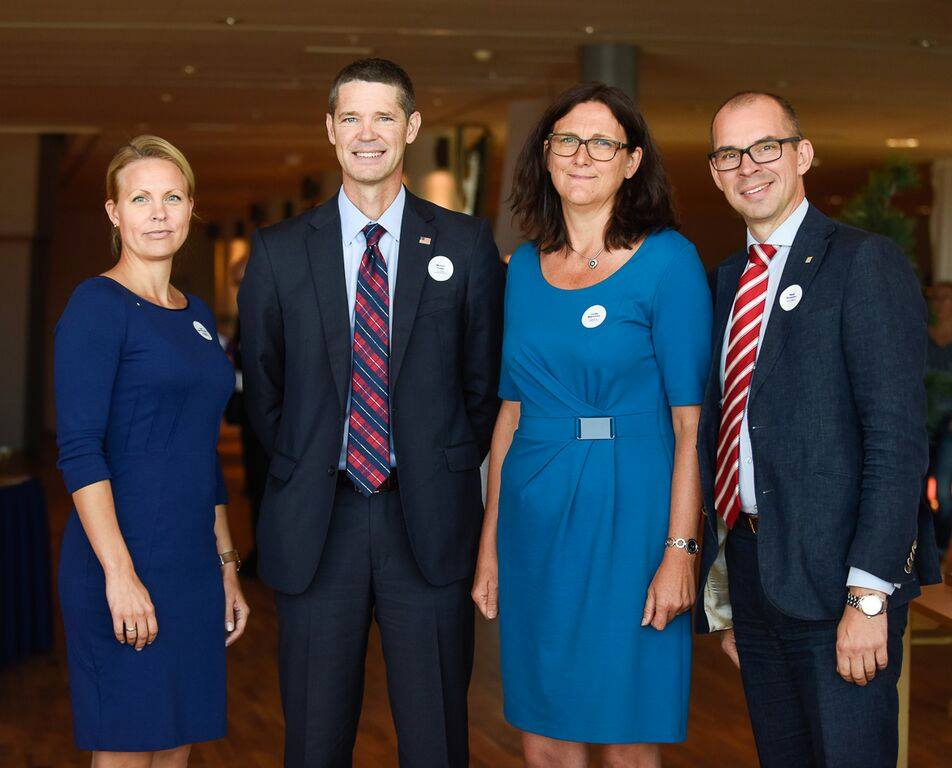 Featured speakers at the International Trans-Atlantic Trade and Investment Partnership (TTIP) Summit included (from l-r) Norrbotten Chamber of Commerce CEO Inger Pedersen, Deputy U.S. Trade Representative Michael Punke, European Commissioner for Trade Cecilia Malmström, and Luleå Mayor Niklas Nordström.